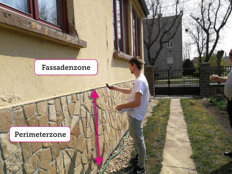 die Größe der Fassaden und der Perimeter